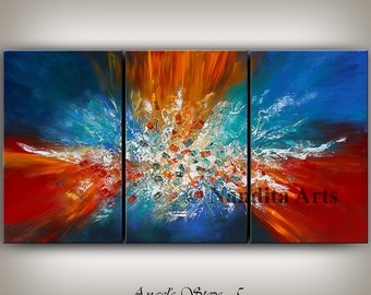 Art Painting, Blue Abstract Art, Hand Painted ORIGINAL Art, Red Home Decor,