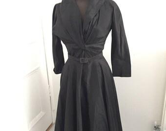 Amazing original CEIL CHAPMAN dress. Black silk. SMALL