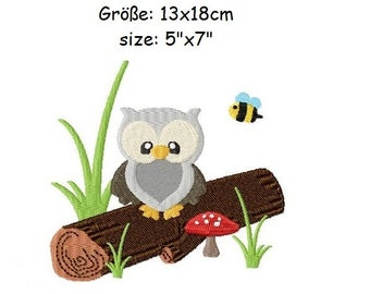 Embroidery Design Owl sitting on a trunk 5'x7' - DIGITAL DOWNLOAD PRODUCT