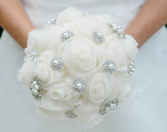 Brides Bridesmaids Brooch Bouquet Ref 2 Jewelled Posy Wedding Accessory Handmade Flowers 4 Size Options Light Cream Chiffon