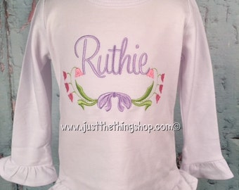 Vintage Bow and Floral Swag Monogram Shirt - Girls