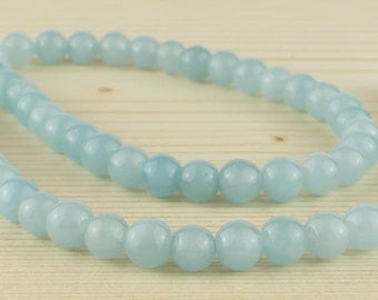 6 mm Light blue agate beads• Light blue agate beads • Agate gemstone beads • Blue agate beads • Round agate beads • Natural agate beads