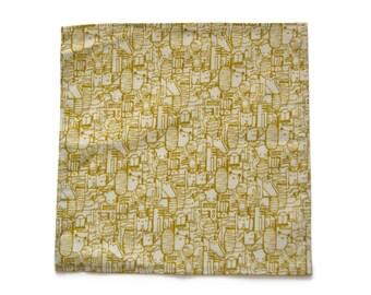 Mens pocket square - Mens handkerchief - Mustard and white pocket square - Funny pocket square - Mustard handkerchief - White handkerchief