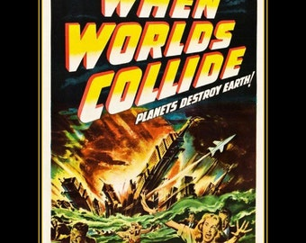"When_worlds_collide, Vintage Sci Fi Movie poster repro 11 X 14""  canvas art print"