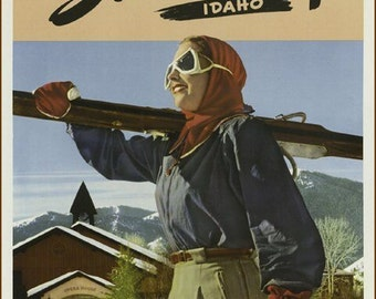 "11 X 14""  canvas art print~      vintage-travel-posters-Sun Valley Idaho.  Skiing, Fun in the Sun."