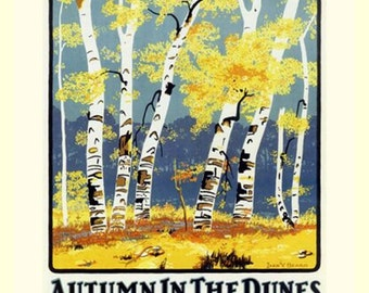 South Shore Lines, Chicago Indiana Dunes.  Autumn in the Dunes, Travel poster. 11x14 satin canvas print