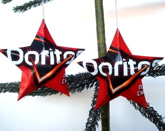 Doritos Nacho Cheese Chips Aluminum Stars - 2 Recycled Christmas Ornaments or Gift Toppers - Pop Culture Decor