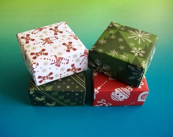 4 Christmas origami boxes . gift boxes . decorative boxes - party favor boxes . wedding favor boxes . jewelry box . bridal shower boxes