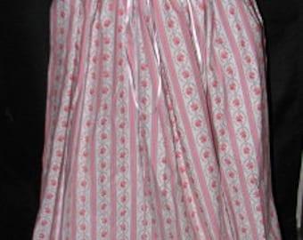 Medieval Renaissance Pirate Civil War Floral Stripe Pink Drawstring Skirt