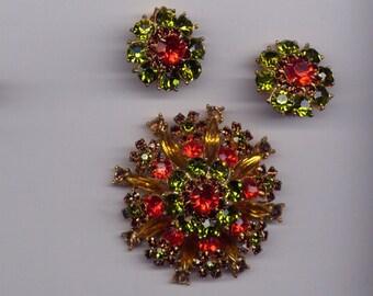 Vintage Orange & Green Juliana (?) Demi Parure Brooch with Clip on Earrings