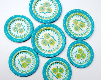 Vintage Childs Tin Plates,Lot of 7 Toy Dishes, 50s Toy Dishes,Tea Party Plates,Turquoise & Green Enamel Tin Plate,Floral Design,Toy Kitchen