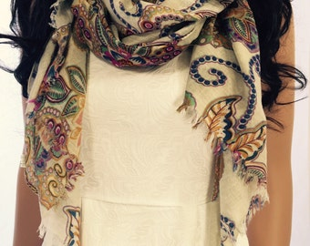 Long Floral Pattern Scarf, Viscose Scarf, Shawl, Wrap, Fashion Accessories, Spring Summer Autum Gift