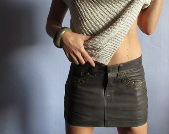 Mini skirt in dark brown leather