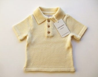 SALE 25% OFF - Babies/Children's knitted Merino wool Poloshirt, Tshirt with wooden buttons/sweater