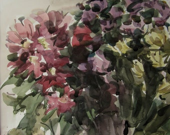 Autumn flowers   - original watercolor