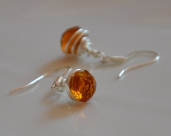 Antique glass buttons earrings / Amber glass buttons earrings
