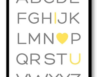 ABC Alphabet I Love U You Print Nursery Art Nursery Baby Art Yellow Grey Gray Child Baby Art Print Kids Room Wall Art Decor