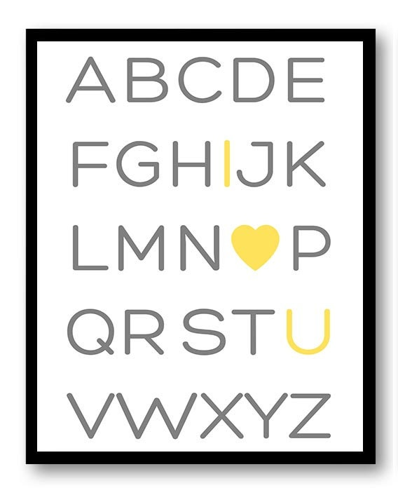 ABC Alphabet I Love U You Print Nursery Art Nursery Baby Art Yellow Grey Gray Child Baby Art Print K