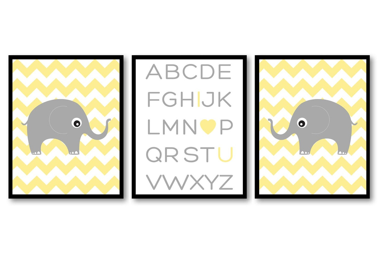 Yellow Grey Elephant Alphabet LOVE Nursery Art Nursery Print Set of 3 Chevron Elephants Child Art Ki