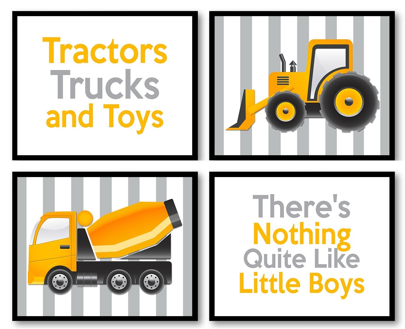 Tractor Truck Little Boys Transportation Construction Vehicles Heavy Machinery Set of 4 Prints Nurse