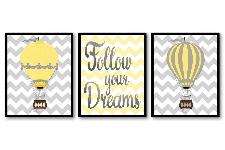 Yellow Grey Hot Air Balloons Follow Your Dreams Nursery Art Print Set of 3 Chevron Child Art Kids Ro