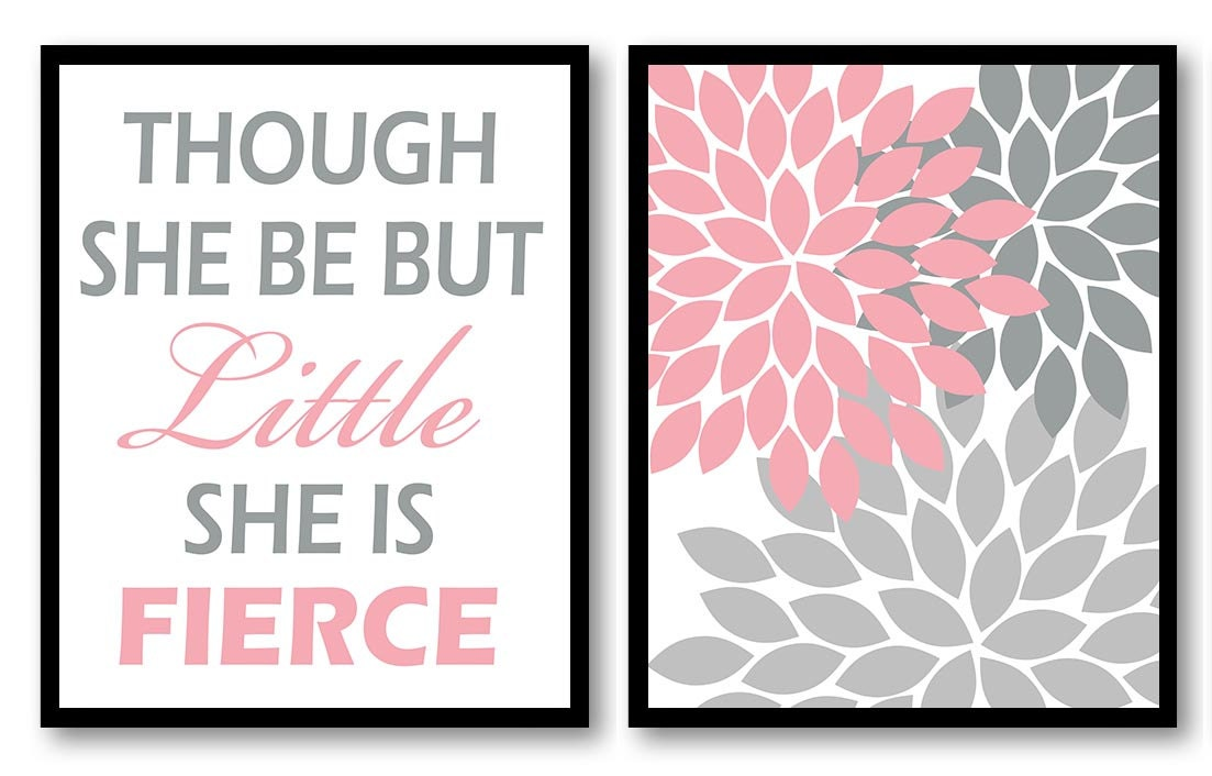 Though She Be But Little She is Fierce Nursery Art Print Set of 2 Chrysanthemum Flower Pink Grey Gra