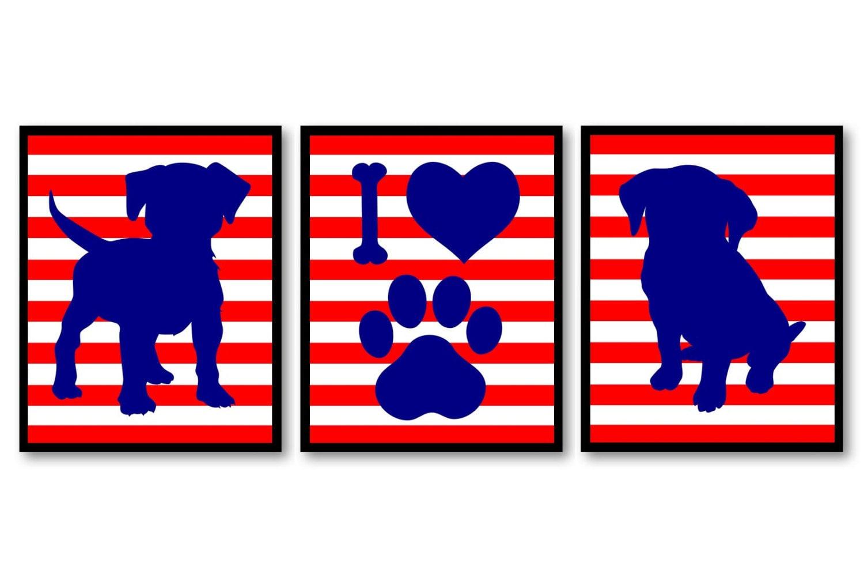 Puppy Dog Nursery Art Puppy Prints Set of 3 Prints Navy Royal Blue Red Stripes Baby Wall Decor I Lov
