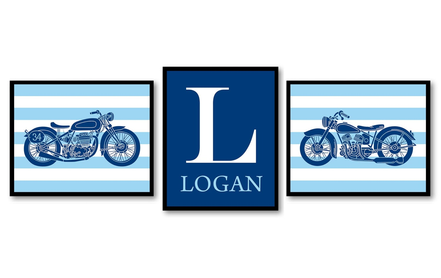 Motorcycle Nursery Art Prints Transportation Set of 3 Prints Navy Blue Stripes Personalized Name Boy