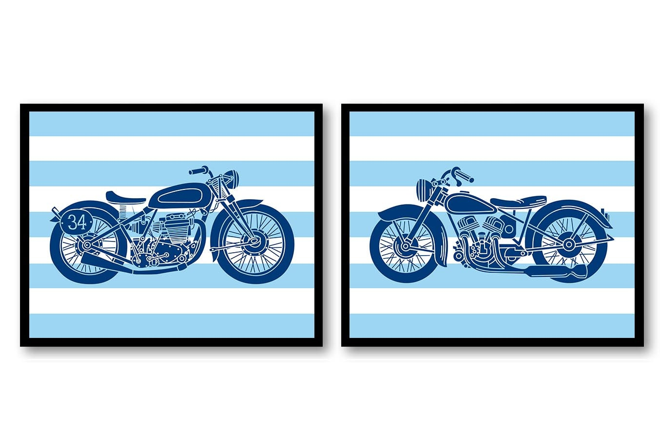 Motorcycle Nursery Art Prints Transportation Set of 2 Prints Navy Blue Boys Art Nursery Print Baby W