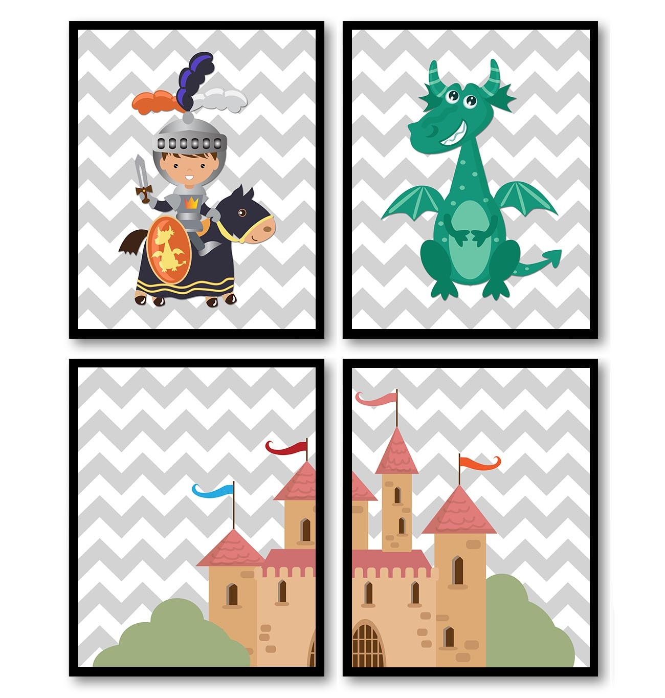 Fairy Tale Nursery Art Child Baby Set of 4 Art Prints Grey Chevron Navy Blue Orange Teal Boy Knight