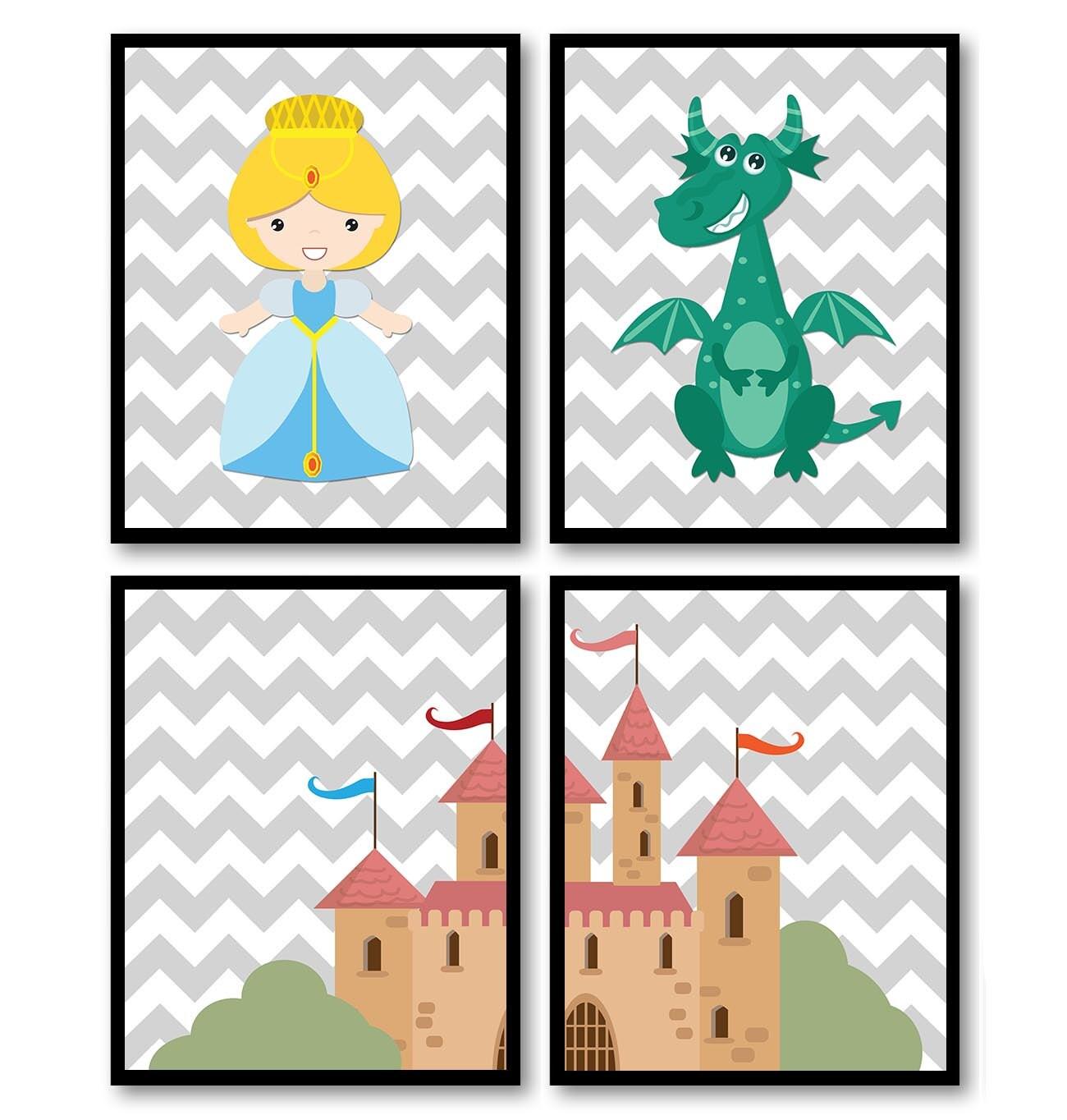 Fairy Tale Nursery Art Child Baby Set of 4 Art Prints Blue Teal Pink Chevron Girl Princess Dragon Ca