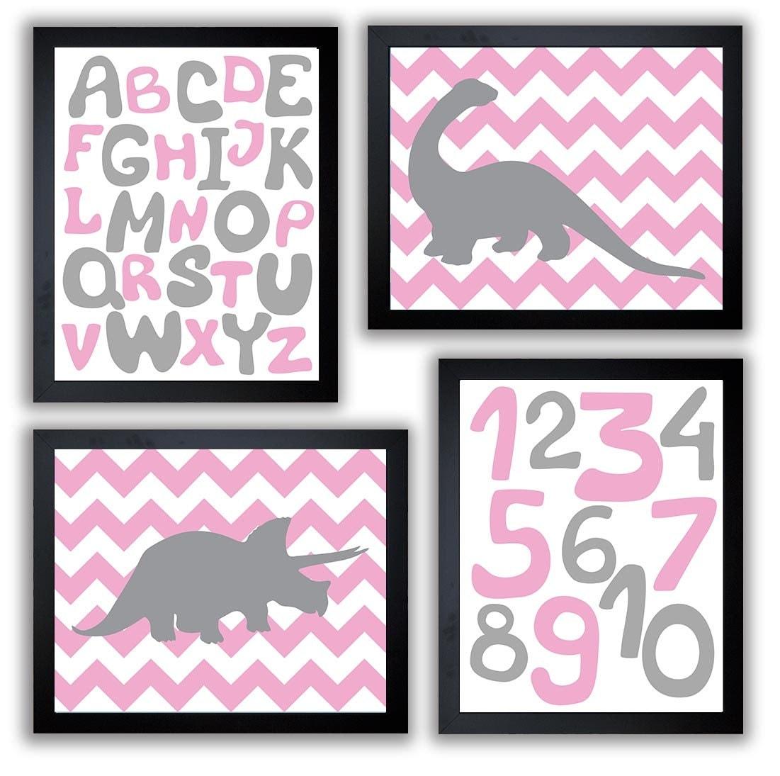 Dinosaurs Nursery Art Set of 4 Prints Grey Pink Chevron Tyrannosaurus Rex Brachiosaurus Alphabet Num