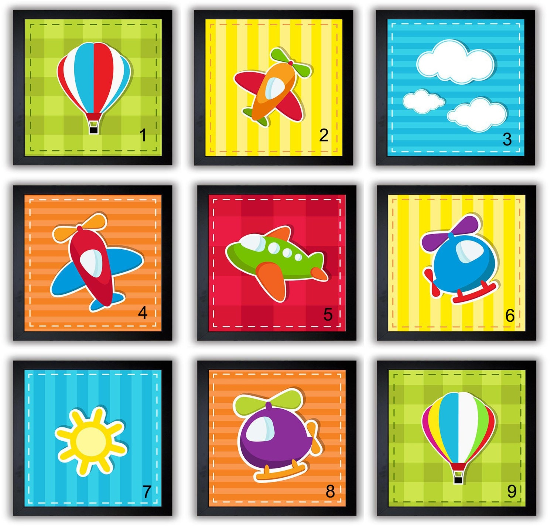 Transportation Nursery Art Nursery Prints Mix and Match Child Baby Boys Kids Room Wall Decor Hot Air