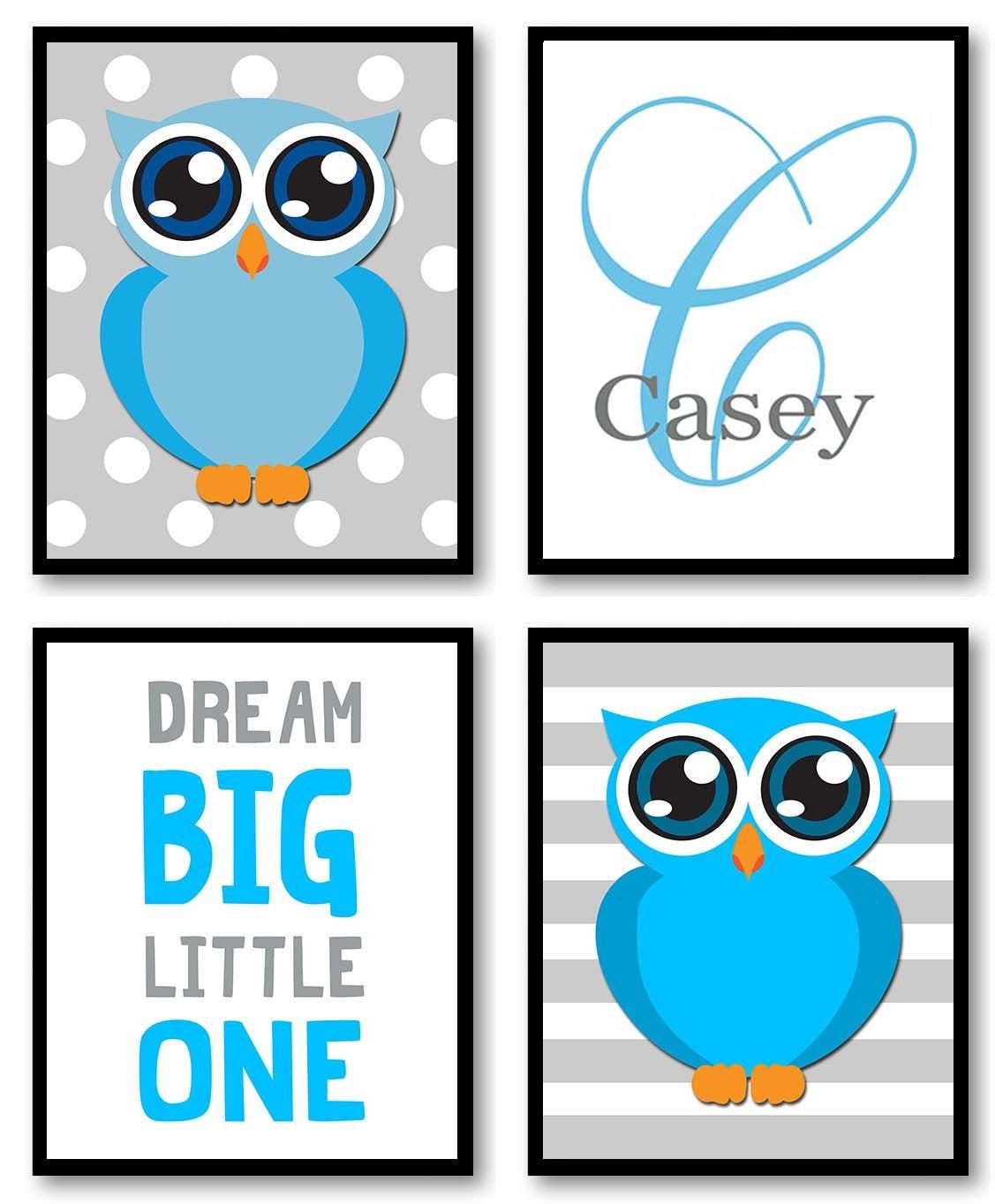 Owl Nursery Art Set of 4 Prints Blue Grey Gray Polka Dots Dream Big Little One Personalized Name Mon