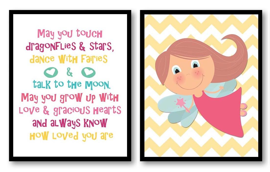 Fairy Nursery Art Print Set of 2 Fairies Fairy Tale Star Girl Child Kids Room Wall Decor Baby Yellow