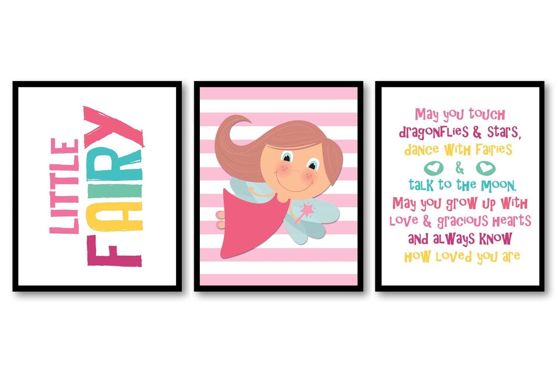 Little Fairy Tale Nursery Art Print Set of 3 Stripes Child Kids Girl Room Wall Decor Baby Fairies Pi