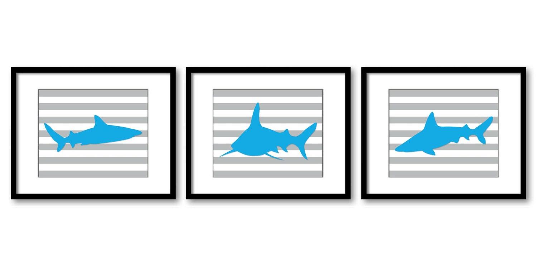 Turquoise Blue Shark Animal Art Prints Stripes Set of 3 Grey Stripes Blue Sharks Boys Art Nursery Ar