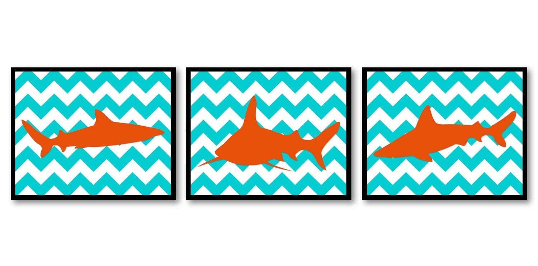 Orange Shark Animal Art Prints Stripes Set of 3 Turquoise Blue Chevron Sharks Boys Art Nursery Art P