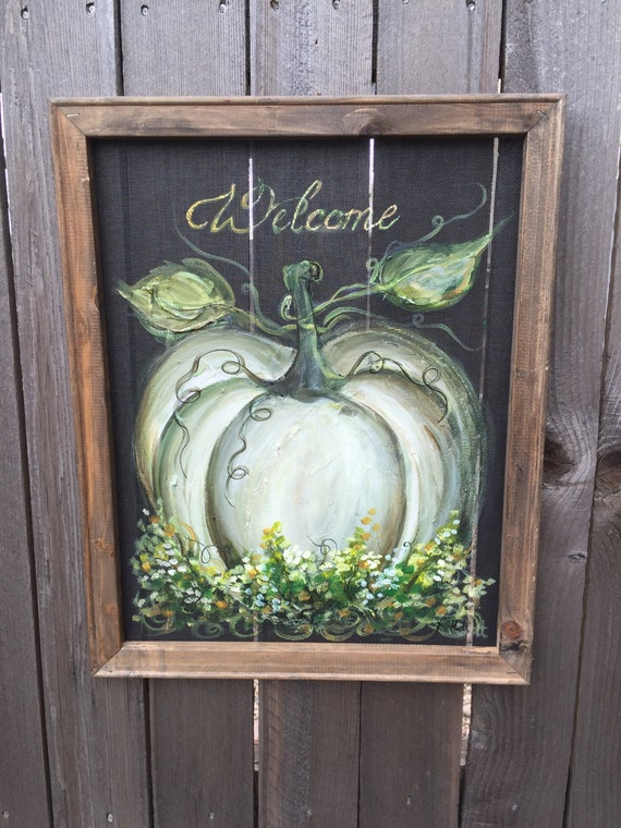 Welcome Sign White Pumpkin Fall Decor Outdoor And Indoor