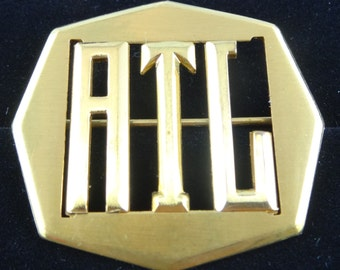 Brooch ATL Pin Metal Goldtone Octagon Shape 8 Sided Marked on Back with PAT Vtg