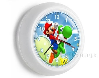 colorful Super Mario world riding happy green Yoshi wall clock childrens gamer video game tv room play carner boys and girls kids bedroom