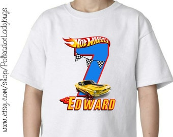 Personalized Hot Wheels Car Birthday Shirt Infant Toddler Childrens Youth Creeper or Tshirt