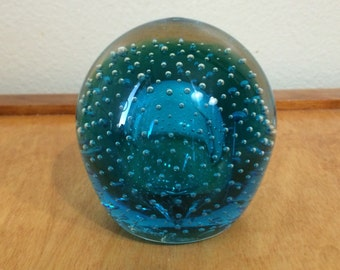 Glass Art Round Turquoise Paperweight with Bubbles