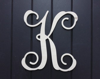 "Wall Monogram - 10"" - Single Letter  - Unpainted Wooden Monogram Wall Decor - Door Wreath, Wall Monograms, Baby Room"