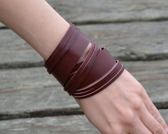 NIDA mix Leather Bracelet, Brick Red Leather Bracelet, thick surplus leather bracelet