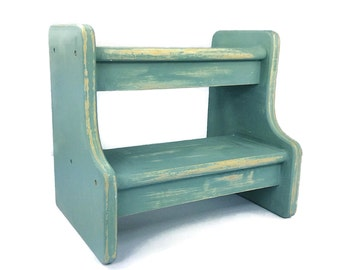 stepping stool beach cottage decor step stool rustic furniture blue wooden stool
