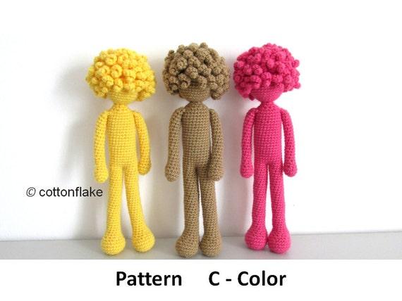 Amigurumi Doll Body : Pattern C - Color , doll amigurumi crochet, human body ...