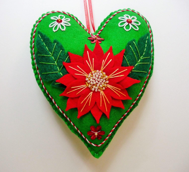 Poinsettia Felt Heart Ornament / Christmas Flower Ornament