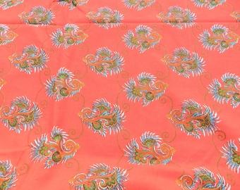 SPECIAL PRICE - French Vintage Fabric-Original Francetiss Festival145-France(GrandTeintLavable)Green,Red,Kaki,Blue&White-1950-147x435cm