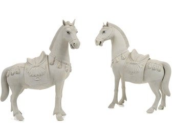 Chinese Rare Bisque Porcelain Horses Figurines -A pair c.1920s